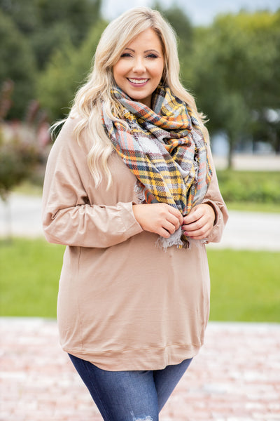 taupe, neutral, solid, top, slouchy, long sleeve, comfy, figure flattering, cozy
