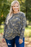 top, long sleeve, camo, print, tie, round neck, figure flattering, army green, neutral