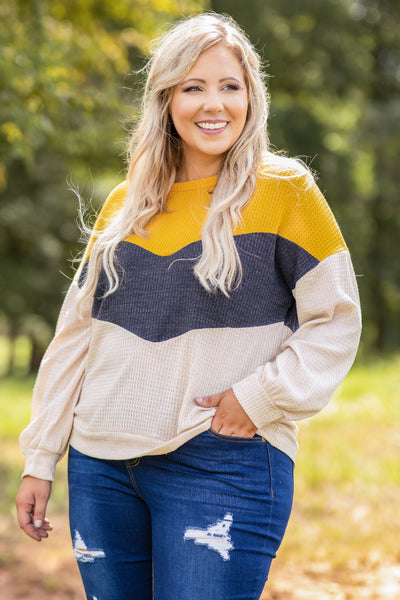 top, colorblock, mustard, stripes, long sleeve, sleeve detail, textured, comfy