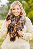 neutral, rust, accessory, scarf, plaid, fringe, pattern