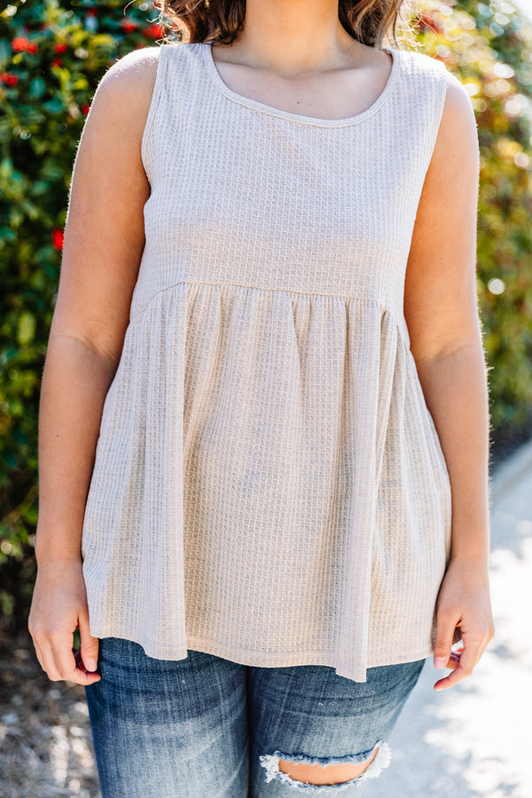 tank, thick straps, babydoll, waffle knit, flowy, oatmeal, comfy, spring, summer