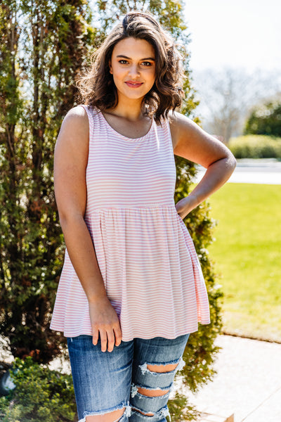 tank, thick straps, babydoll, waffle knit, flowy, pink, white, stripes, comfy, spring, summer