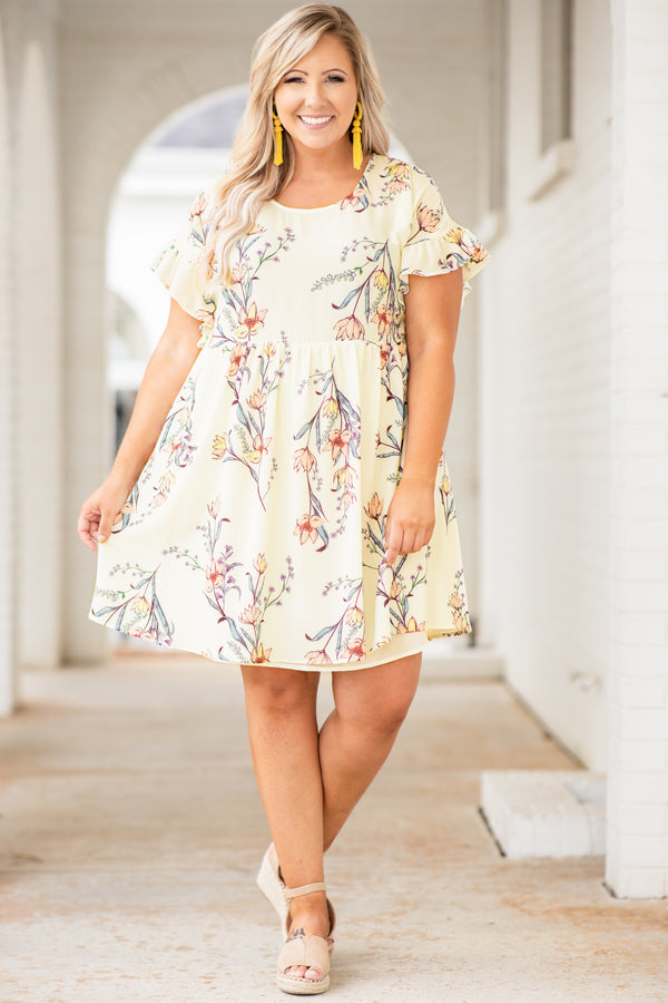 dress, short dress, baby doll, ruffled sleeves, short sleeve, floral, cream, loose, comfy, spring, summer