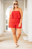 rompers, shorts, ruffle, spaghetti straps, coral red, red, summer, spring, pockets