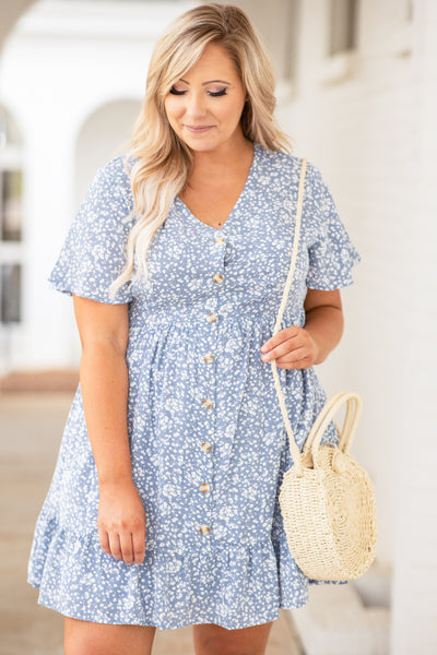 dress, short dress, baby doll, button front, v neck, short sleeve, floral, light blue, white, loose, comfy, spring, summer