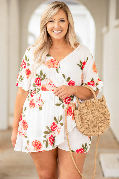 romper, shorts, short slevee, wrap front, ruffle detailing, v neck, loose, comfy, floral, white, peach, red, green