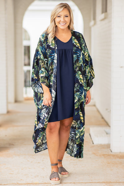 kimono, long, open front, floral, black, blue, green, leaves, loose, comfy, spring, summer, three quarter sleeve