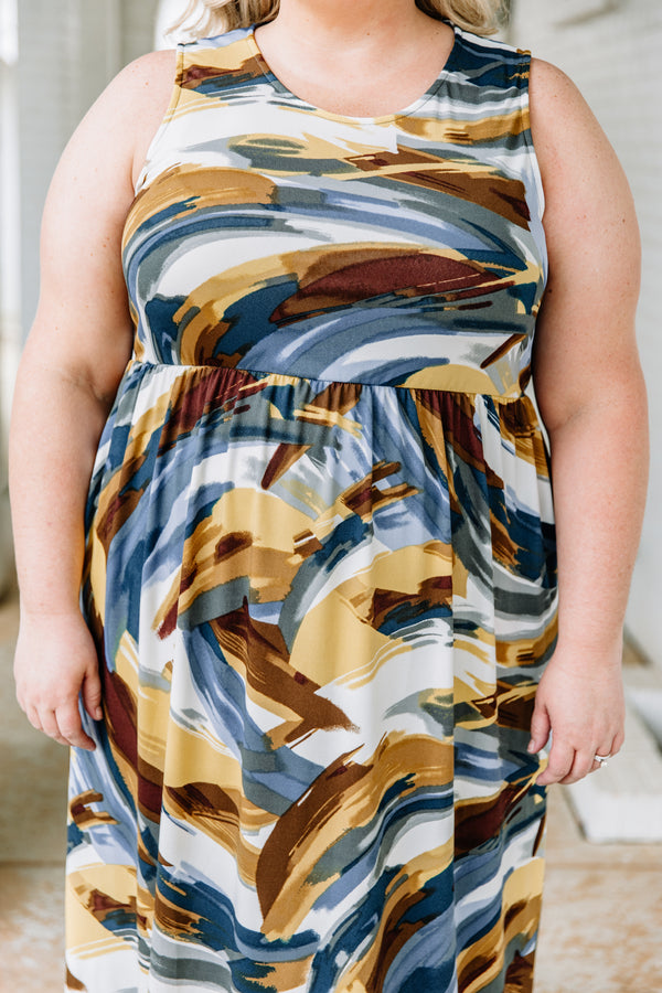 dress, maxi, sleeveless, thick straps, pockets, fitted top, flowy skirt, brushstrokes, white, blue, mustard, brown, comfy