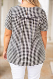 shirt, top, short sleeve, gingham, plaid, black, ivory, loose, comfy