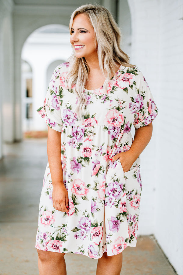dress, short, short sleeve, scoop neck, babydoll, pockets, flowy, white, floral, pink, green, purple, comfy, spring, summer
