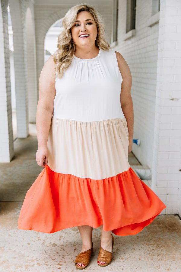 dress, maxi, tank, thick straps, high neckline, tiered, colorblock, white, tan, coral, comfy, spring, summer