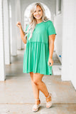 dress, short, short sleeve, babydoll, ruffled, flowy, mint, comfy