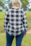 top, plaid, long sleeve, slouchy, round neck, white, black, comfy
