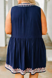 dress, sleeveless, slit neckline, babydoll, flowy, navy, embroidery, pink, white, comfy, spring, summer