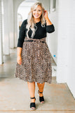 dress, short, three quarter sleeve, tie waist, pockets, flowy, brown, black, leopard, colorblock, comfy