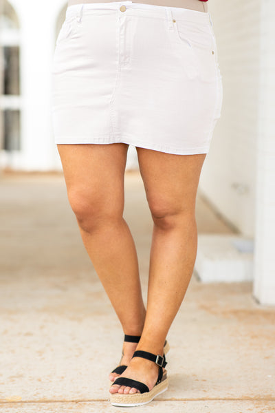 bottoms, shirt, white, denim, button closure, short skirt, above the knee, mid thigh
