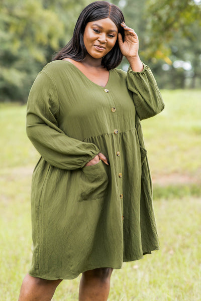 dress, casual dress, babydoll dress, green, olive, solid, bubble sleeves, pockets