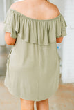 dress, short, off the shoulder, green, short sleeve, ruffle top, pockets