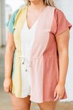 romper, shorts, short sleeve, vneck, drawstring waist, wide leg, green, yellow, white, blush, red, colorblock, comfy, spring, summer