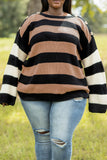 top, stripes, sweater, long sleeve, buttons