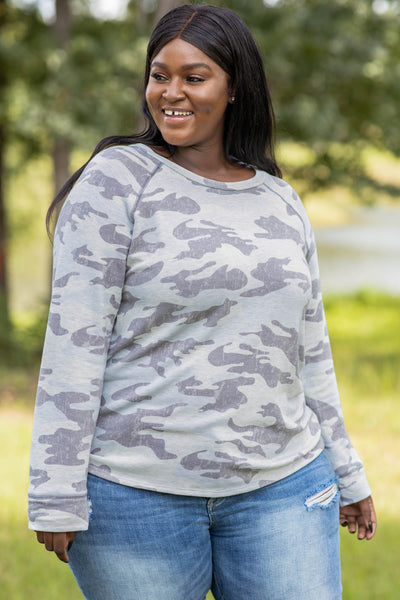 camo, top, long sleeve, print, comfy, round neck, figure flattering