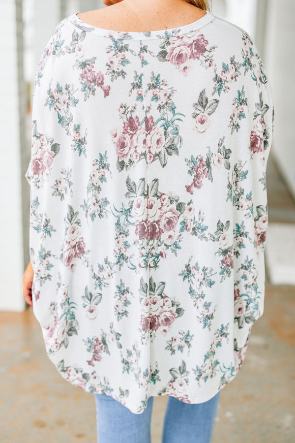shirt, three quarter sleeve, drapey, long back, flowy, white, floral, purple, green, blue, muted, comfy, spring, summer