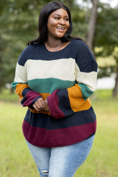 top, sweater, blue, white, green, yellow, burgundy, colorblock, stripes, long sleeve