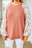 shirt, long sleeve, bubble sleeve, long, waffle knit, rust, floral sleeves, white, green, comfy