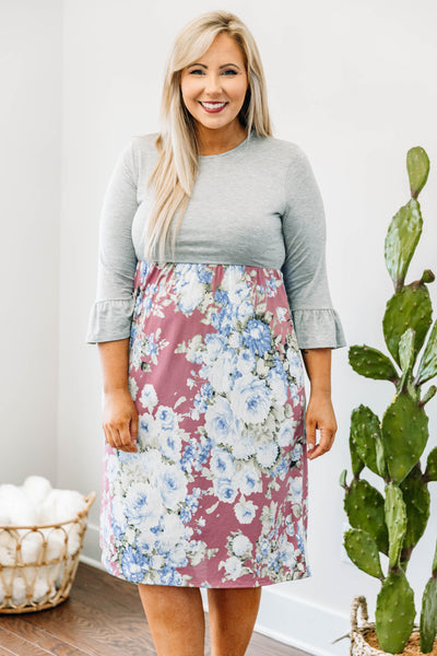 dress, short, three quarter sleeve, ruffle sleeves, fitted bust, loose skirt, gray top, mauve, floral, white, blue, green, comfy