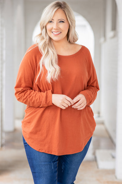 top, slouchy, solid, rust, long sleeve, curved hem, comfy, round neck