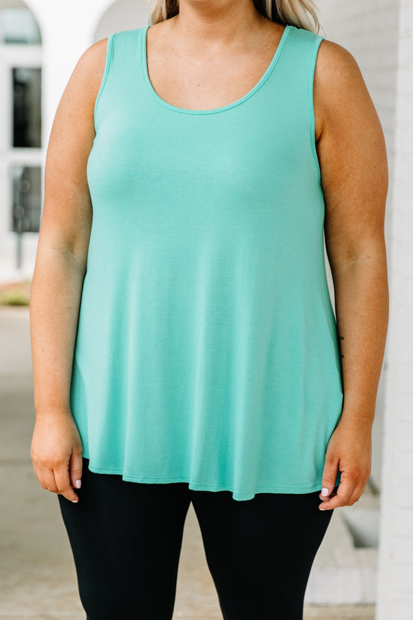 tank, thick straps, scoop neck, long, flowy, mint, comfy, spring, summer