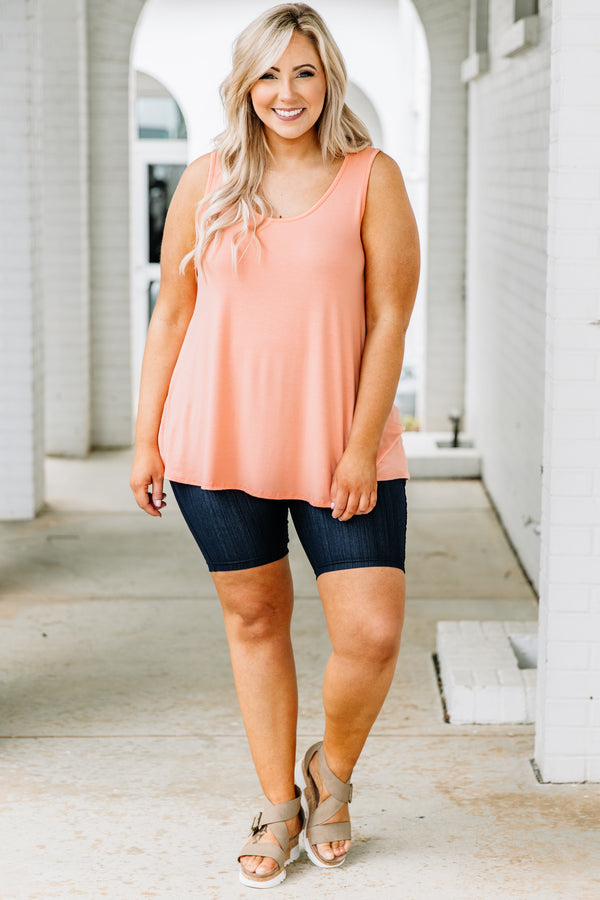 tank, thick straps, scoop neck, long, flowy, peach, comfy, spring, summer