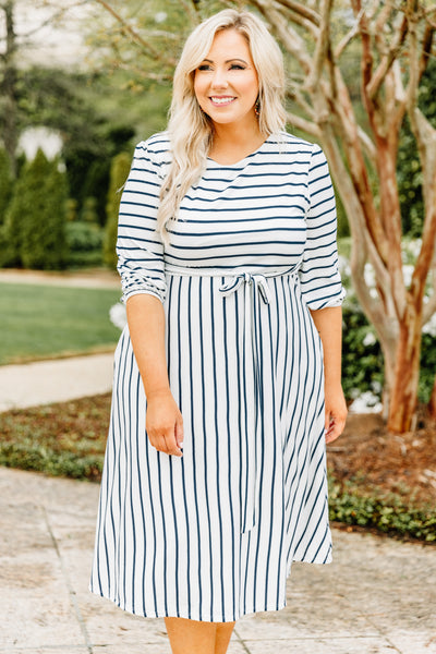 dress, midi, three quarter sleeve, tied waist, flowy, fitted top, white, navy, comfy