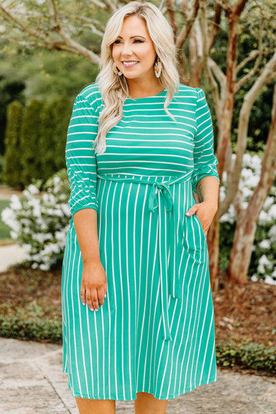 dress, midi, three quarter sleeve, tie waist, fitted top, flowy skirt, pockets, mint, white, striped, comfy