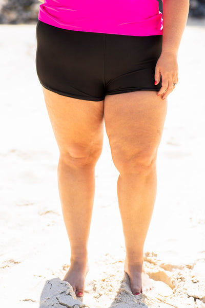 swim bottoms, shorts, black, solid, modest, spring, summer