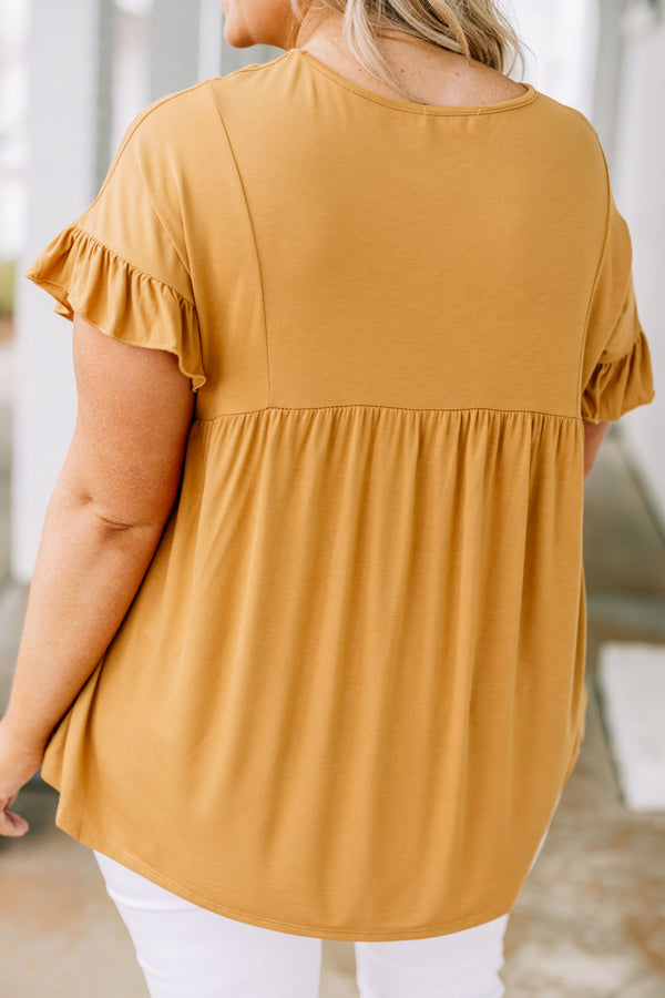 shirt, short sleeve, ruffle sleeves, long, flowy, babydoll, comfy, mustard