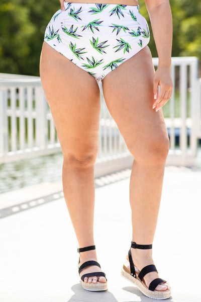 swim suit, swim bottoms, two piece, white, floral, blue, green, spring, summer, high waisted