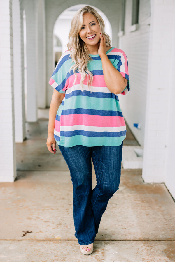 shirt, short sleeve, curved hem, loose, green, blue, white, pink, striped, comfy