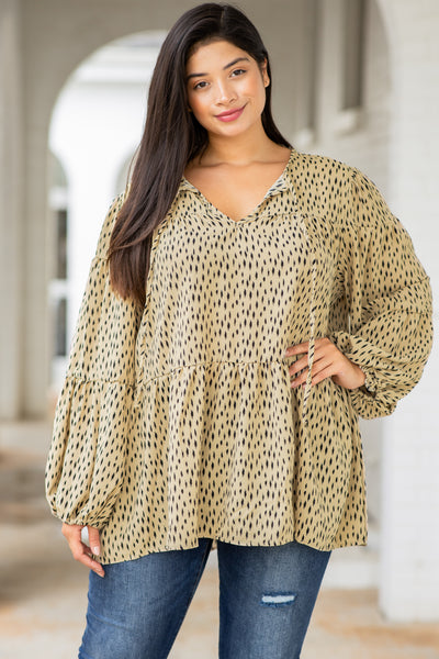 top, casual, babydoll, brown, taupe, bell sleeve, spots, V-neck