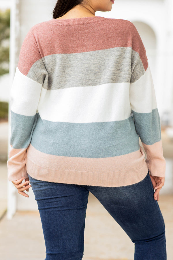 top, sweater, colorblock, mauve, long sleeve, comfy, figure flattering