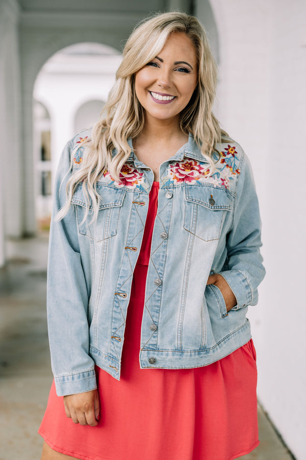 jacket, long sleeve, denim, light blue, pockets, button up, embroidered, white, blue, fuchsia, red, yellow, comfy, outerwear