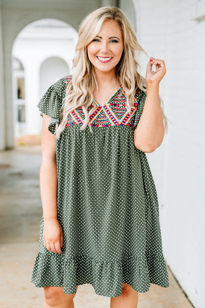 dress, short, short sleeve, vneck, ruffle sleeves, ruffle hem, flowy, green, white, polka dots, embroidery, red, blue, orange, white, comfy