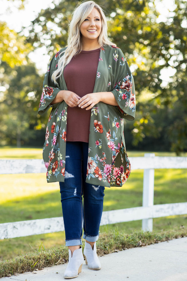 cardigan, print, long, above the knee, floral, short sleeve, olive