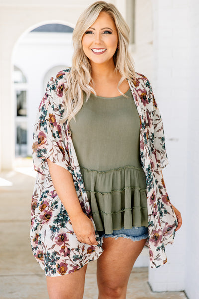 kimono, three quarter sleeve, long, flowy, white, floral, red, orange, green, comfy, outerwear, spring, summer