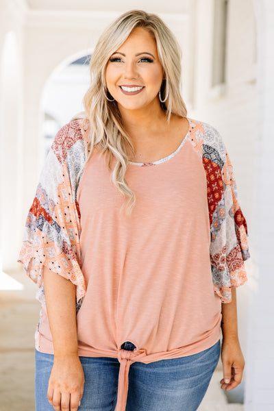 shirt, three quarter sleeve, bell sleeves, tied hem, loose, peach, mixed floral sleeves, mixed floral back, white, red, blue, black, orange, comfy
