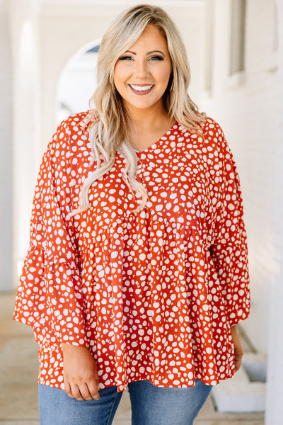 shirt, three quarter sleeve, bell sleeves, vneck, long, flowy, red, white, polka dots, comfy