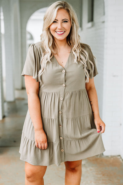 dress, short, short sleeve, vneck, button down, babydoll, tiered, flowy, olive, comfy