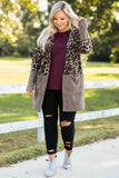 taupe, print, cardigan, open front, pockets, long sleeve, leopard, flowy, long, above the knee