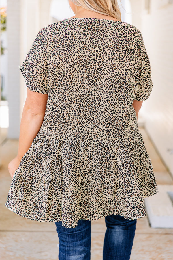 tunic, short sleeve, long, flowy, taupe, black, brown, leopard, comfy