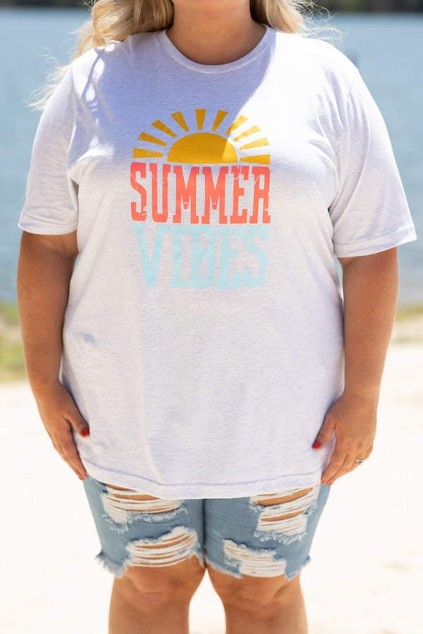 shirt, top, short sleeve, graphic tee, tee, summer, summer vibes, fun, gray, ash gray, yellow, red, blue, loose, comfy